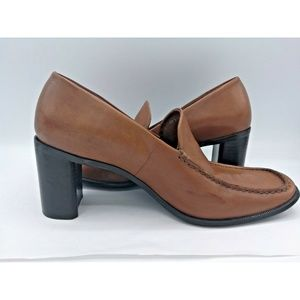 Franco Sarto Brown Leather Loafers Rounded Pumps 8